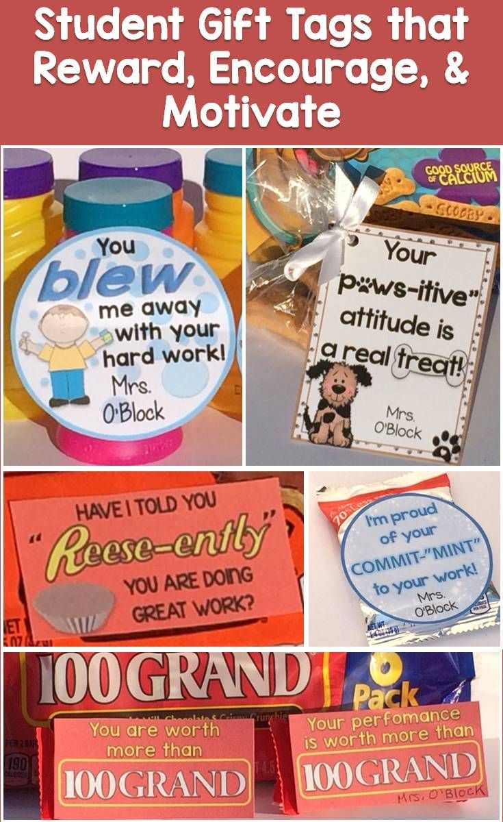 Easily reward students' efforts and achievements or give them a note of encouragement with these cute & memorable student gift tags and gift ideas.  https://www.teacherspayteachers.com/Product/Student-Gift-Tags-for-Rewards-Testing-Incentives-Growth-Mindset-2801870