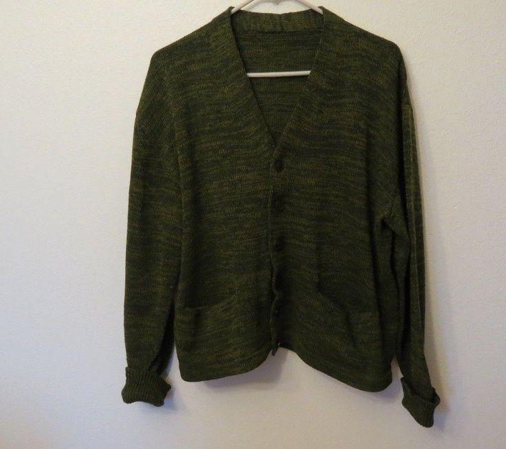 Vtg Green Knit Grandpa Sweater Cardigan w Little Pockets M/L - Nerdy Librarian #Unbranded