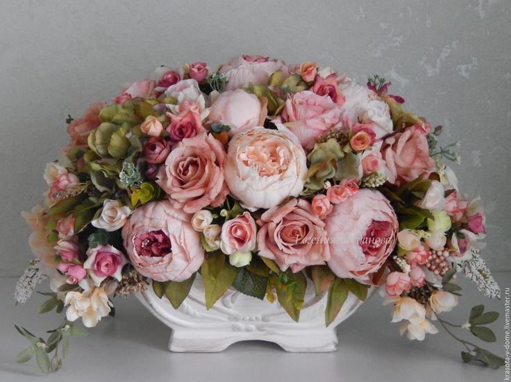"""Купить Цветочная композиция """"Версаль"""" - бежевый, купить букет, подарок, цветочная композиция, подарок на юбилей"""