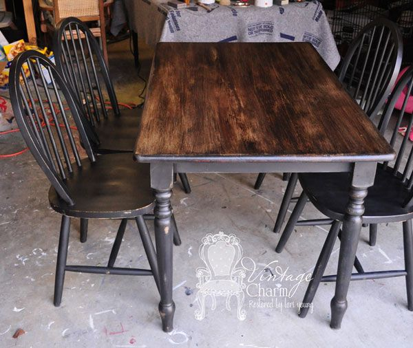 How to stain over chalk painted surfaced...black chalk painted table-set by vintage charm restored Love Vintage Charm Restored!