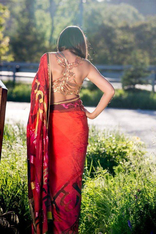 Gorgeous picture of saree blouse back designs with greats tips on how to wear backless saree blouse or very deep back necked saree blouse without the bra straps peeping.