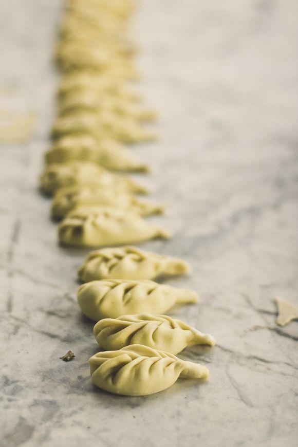 "Culurgiones carciofi e piselli - Sunchoke Culurgiones on a bed of peas [Guest Post by Phi Tran ""Princess Tofu"" blog""]"