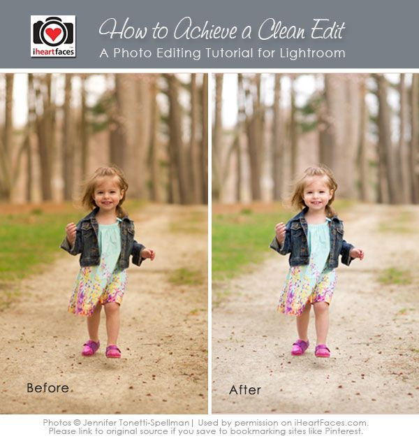 {Before & After} How to Achieve a Clean Edit in Lightroom - http://www.iheartfaces.com/2013/09/how-to-do-clean-edit-in-lightroom/
