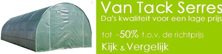 Serres Van Tack verkoopt tunnelserres van de hoogste kwaliteit aan -50% van de winkelprijs. Kijk & Vergelijk op onze site www.serresvantack.be! Afhaling is mogelijk, waarbij u een ineengezette serre kan bezichtigen!