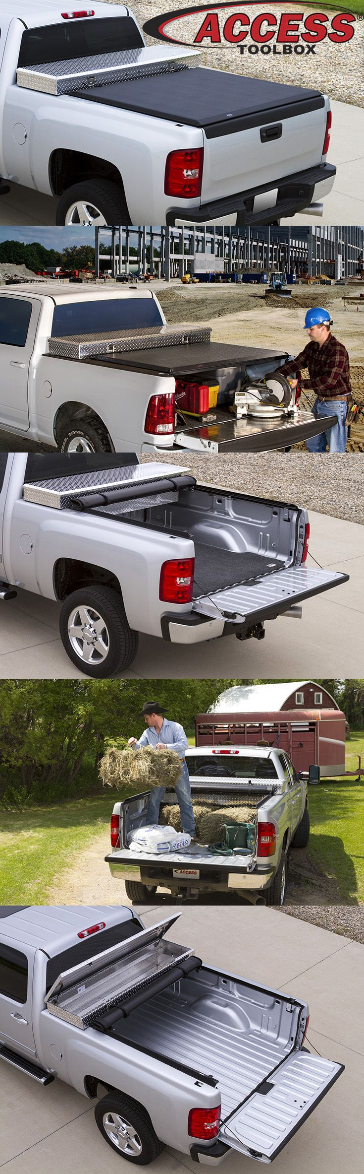 "Don't choose between a toolbox or tonneau cover when you can have both. The ACCESS® Toolbox Edition Roll-Up Cover is specially designed to fit behind most 19"" - 21"" over-the-rail toolboxes."