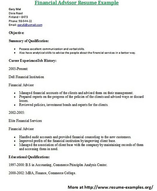 For More And Various Finance Resumes Examples Visit: Www.resume Examples.org.  Cover Letter ...