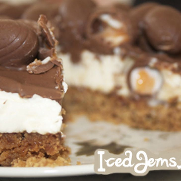 Creme Egg Cheesecake Recipe Desserts with melted butter, chocolate, philadelphia cream cheese, sour cream, powdered sugar, double cream, eggs, milk chocolate