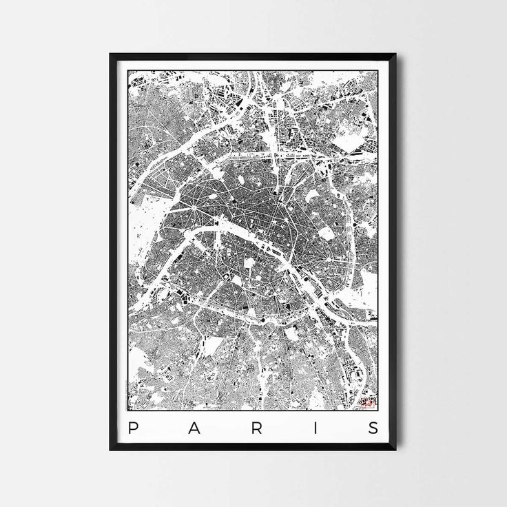 Paris schwarzplan map art city posters. Unique interior decor idea for offices art posters or kitchen art prints.  Minimalist city art gifts for travelers as framed art or canvas wall art. Urban plan map style. print, poster, gift | CityArtPosters.com