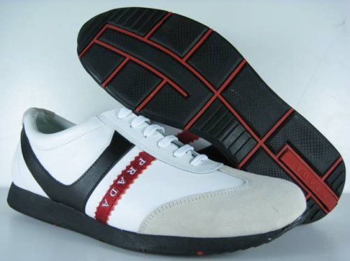 Prada Sneakers For Men White Beige Red Stripes