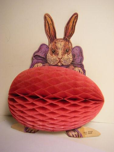 Vintage 1920's 30's Honeycomb Easter Bunny Rabbit Egg Decoration Display