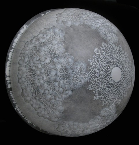 """Carol Prusa. Limen. 36"""" x 36"""" x 18."""" Silverpoint with graphite and white acrylic on acrylic sphere with fiber optics."""