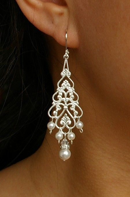 Pearl Chandelier Bridal Earrings, Silver Filigree Dangly Earrings, Chandelier Wedding Earrings, Vintage Style Bridal Jewelry, COLETTE. $36.00, via Etsy.