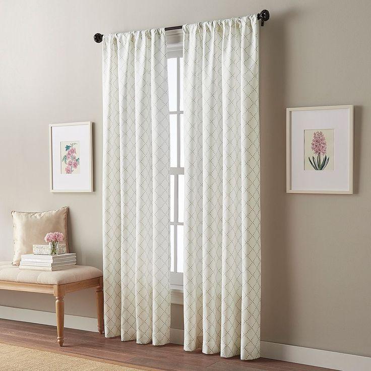 Peri Diamond Eyelet Curtain, Beig/Green (Beig/Khaki)