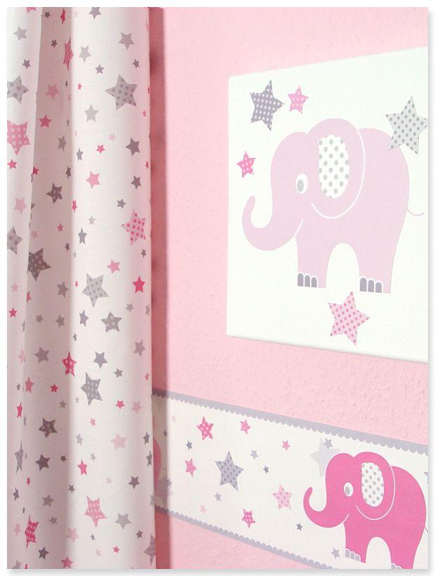 Elefanten Girls rosa/grau: Selbstklebende Bordüre, Wandsticker auf Leinwand, Sternchenstoff