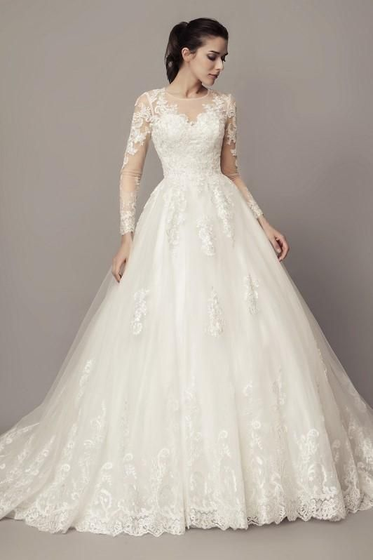 4a78d45fc36 See-through Long Sleeves Ball Gown Wedding Dress Lace Tulle Cathedral Train  in 2019