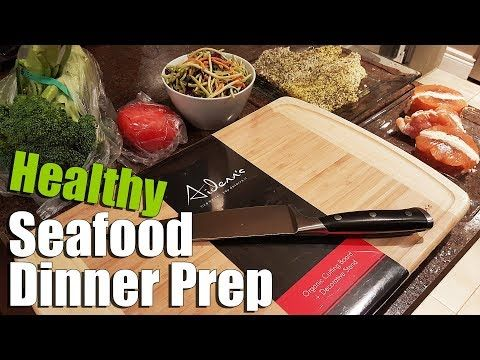 Seafood Salad Dinner Prep with Natural Bamboo Cutting Board - YouTube