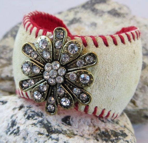 Vintage Baseball Cuff Bracelet Adjustable Red Gold by ToZenAndBack