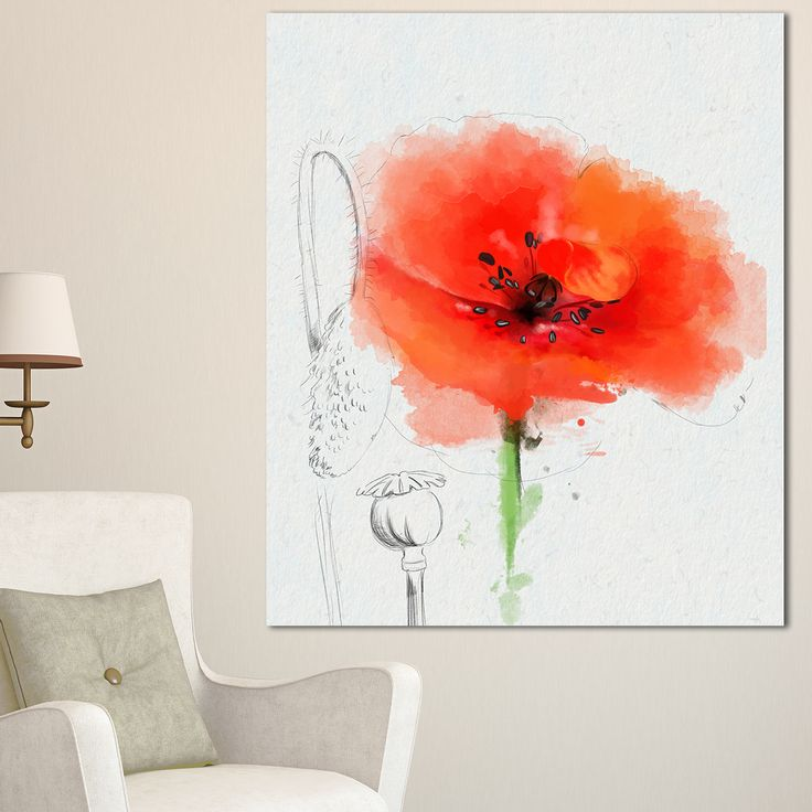 DESIGN ART Designart 'Red Poppy Watercolor Painting' Floral Canvas Artwork Print