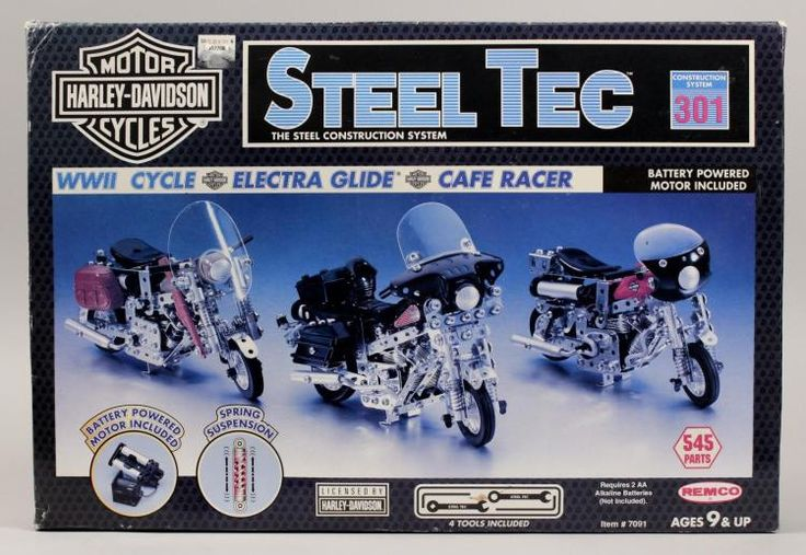 1993 Harley Davidson Steel Tec Construction System. NEW-1993 Harley Davidson Steel Tec Construction System 301 construction system. WWII cycle, Electra Glide. Battery operated motors, Remco Toys.