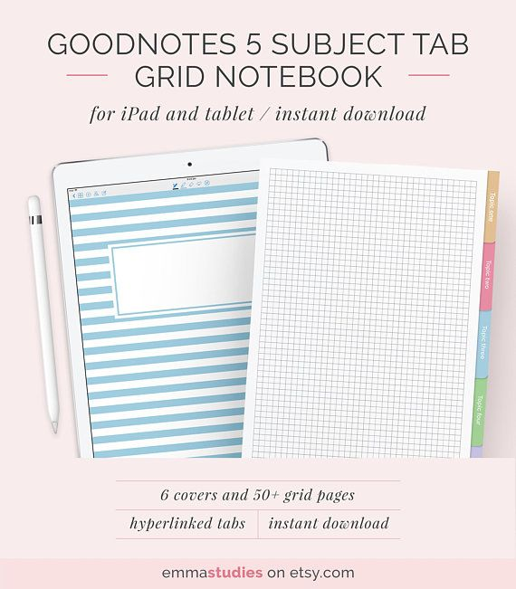 Goodnotes 5 Subject Student Notebook Template Grid Square Writing Customisable Notebook Ipad Tablet College School Instant Download Notebook Templates Student Notebooks College Note Taking