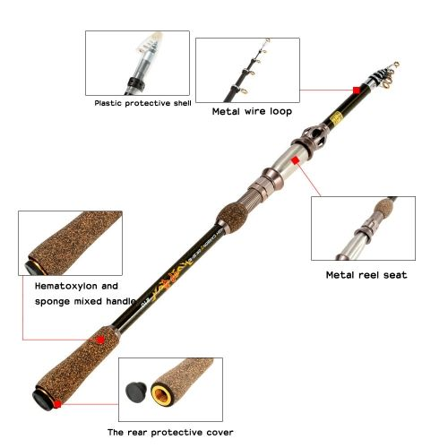 1.8M / 2.1M / 2.4M / 2.7M Superhard Ultralight Professional Carbon Telescopic Fishing Rods Powerful Casting Fishing Rod Highly Sensitive