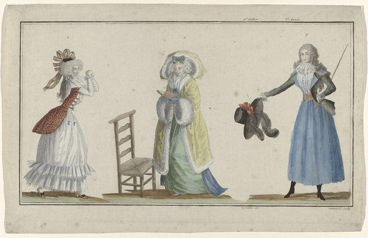 A.B. Duhamel | The First Fashion Magazine, A.B. Duhamel, Buisson, 1788 | Van links naar rechts. Jonge vrouw in een oranje caraco, met een lijfje en rok van wit satijn. Gestreepte strik in het haar. Verdere accessoires: chatelaines, schoenen met hakken en strikken. Vrouw, staande voor een bidstoel, met een opengeslagen boek in de handen. Zij draagt een 'demi-parure', bestaande uit een paarse japon en groene rok. Pelisse met capuchon van geel satijn gegarneerd met bont. Jonge Engelse vrouw…