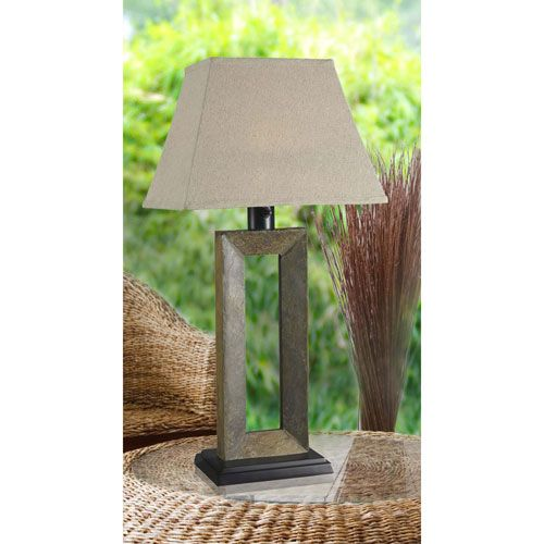 Egress Natural Slate One Light Outdoor Table Lamp With Cream Tapered Rectangular…