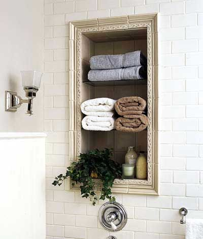 A recessed tiled niche above the tub keeps towels and bath products close at hand | Photo: Casey Sills | thisoldhouse.com: Small Bathroom, Modern Bathroom, Bathroom Storage, Bathroom Remodeling, Beautiful Bathroom, Bathroom Designs, Bathroom Ideas, Bathroom Decor, Bathroom Shelves