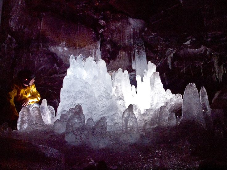 East end of GULER ICE CAVES is cool thru May, preserving ice structures within a 650'L extinct lava tube. South of Trout Lake & Mt Adams. Guler Rd & Rd 141.