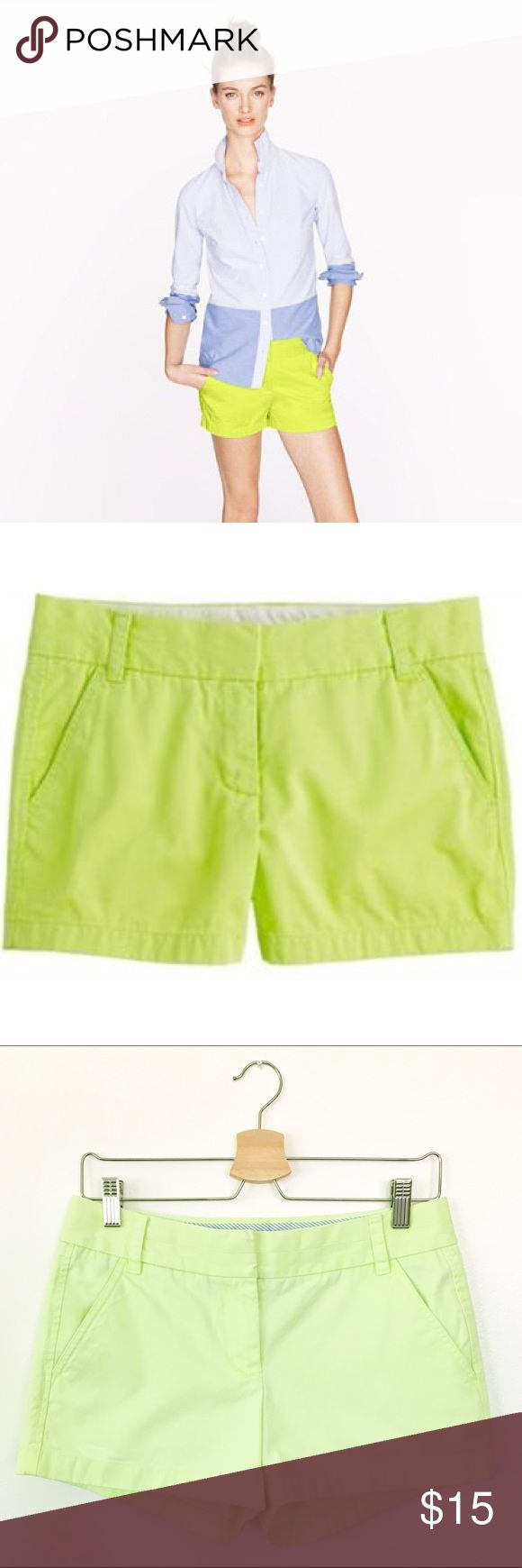 "J. Crew Chino Shorts in Lime Green Size 2 CUTE J. Crew Chino Shorts in Lime Green. Size 2. Excellent Used Condition. Some fading of color. 100% Cotton. Machine Wash. Tumble Dry Low. Waist: 15"". Length: 10.5"". Inseam: 3"" J. Crew Shorts"