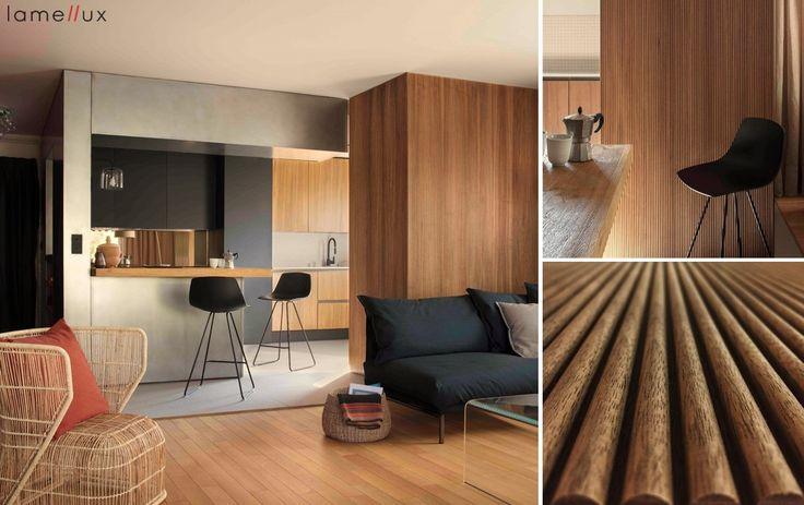 "LAMELLUX  Gamme "" Empreinte"" - Cannelé 10 Noyer US Agence Autre - Sophie Genestoux & Bérangère Botti  #lamellux #luxe #empreinte #noyer #cannele #walnut #agenceautre #madeinfrance #ebenisterie #architecture #architecturedinterieur #agencement #craftmanship #luxury #design #interior #interiordesign #woodwork #bespoke"