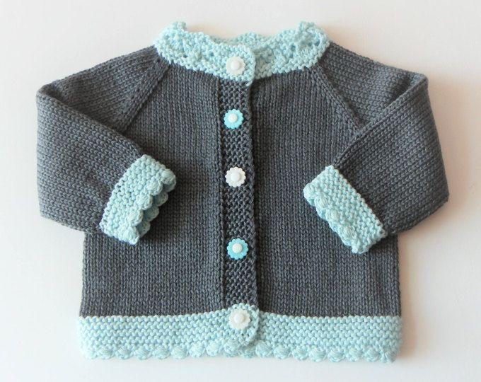 Menta verde bebé chaqueta de punto bebé gris oscuro Jersey de punto a niña chaqueta bebé ducha bebé bebé chaqueta de punto hecho a pedido