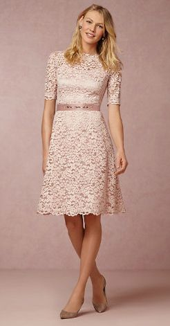 Blush lace dress for the Mother-of-the-Bride - new at BHLDN