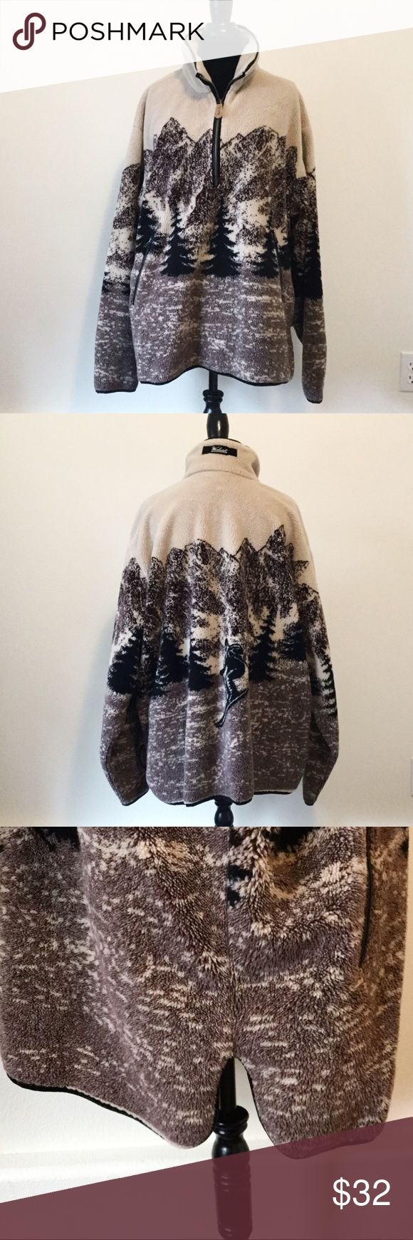 """Woolrich Men's Ski Print Winter Pullover In good condition. No rips, stains or tears. Smoke free home. Measures 27"""" across from armpit to armpit and is 28"""" in length. Has side slits for ease in walking. Zippered pockets in front. Trees in front and ski man in back. Woolrich Sweaters Zip Up"""