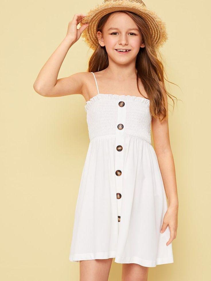 Girls frilled trim buttoned smock cami dress shein uk in