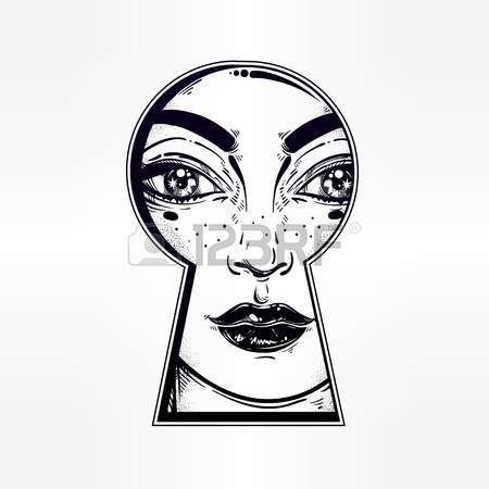 La muchacha hermosa que mira furtivamente a través del ojo de la cerradura. dibujo de esquema gráfico en el estilo retro Noir. ilustración del vector. Vintage, camiseta, secretos, tatuaje, libros para colorear. impresión de moda.