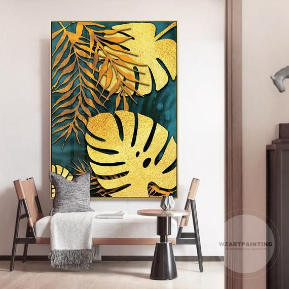 Modern Gold Turtle Leaf Print Painting On Canvas Large Wall Art Pictures Ready To Hang Painting Wall Art Pictures Wall Art Pictures Wall Painting Art Painting