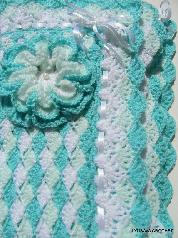 "Baby Blanket Crochet TUTORIAL PATTERN ""Turquoise Sea Shell"".  New Pattern by Lyubava Crochet."