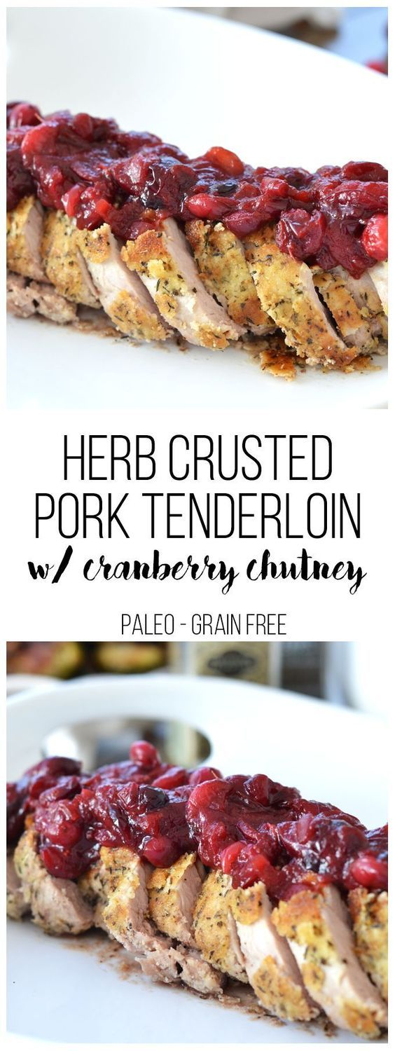This Herb Crusted Pork Tenderloin w/ Cranberry Sauce is the perfect friendsgiving or thanksgiving dish!! The dish is paleo and delicious for everyone to enjoy!