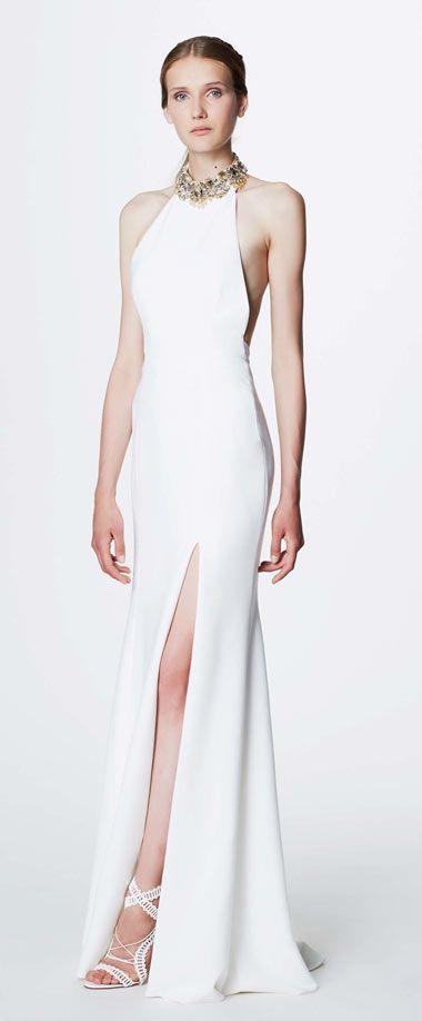 ade018bef66 Simple robe de soirée blanche fendue à style sirène col perlé. Visiter.  janvier 2019