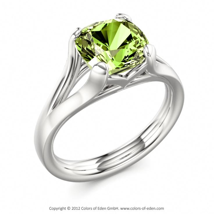 """Peridot Engagement Ring in White Gold - """"Kir Royal"""""""