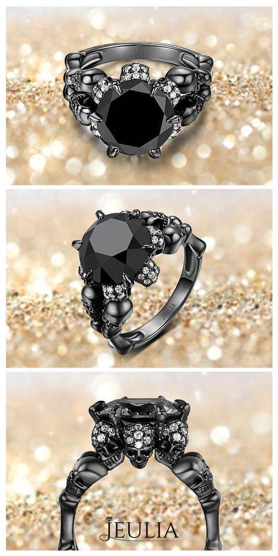Four-Skull Design 5.0CT Round Cut Black Diamond Rhodium Plated Sterling Silver Skull Ring by Jeulia