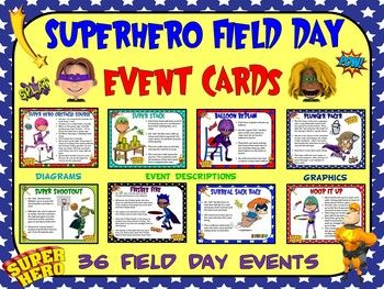 """THE MOST POWERFUL DAY OF THE YEAR!!!The Superhero"""" Field Day Event Cards- 36 Superhero-Themed Field Day Events product is a visual package of signs that can be used during large group school, church or community field day events. The cards serve to help field day volunteers, teachers, leaders and students easily understand the Superhero-Themed events by delivering specific instructions and providing attractive graphics depicting the activities."""