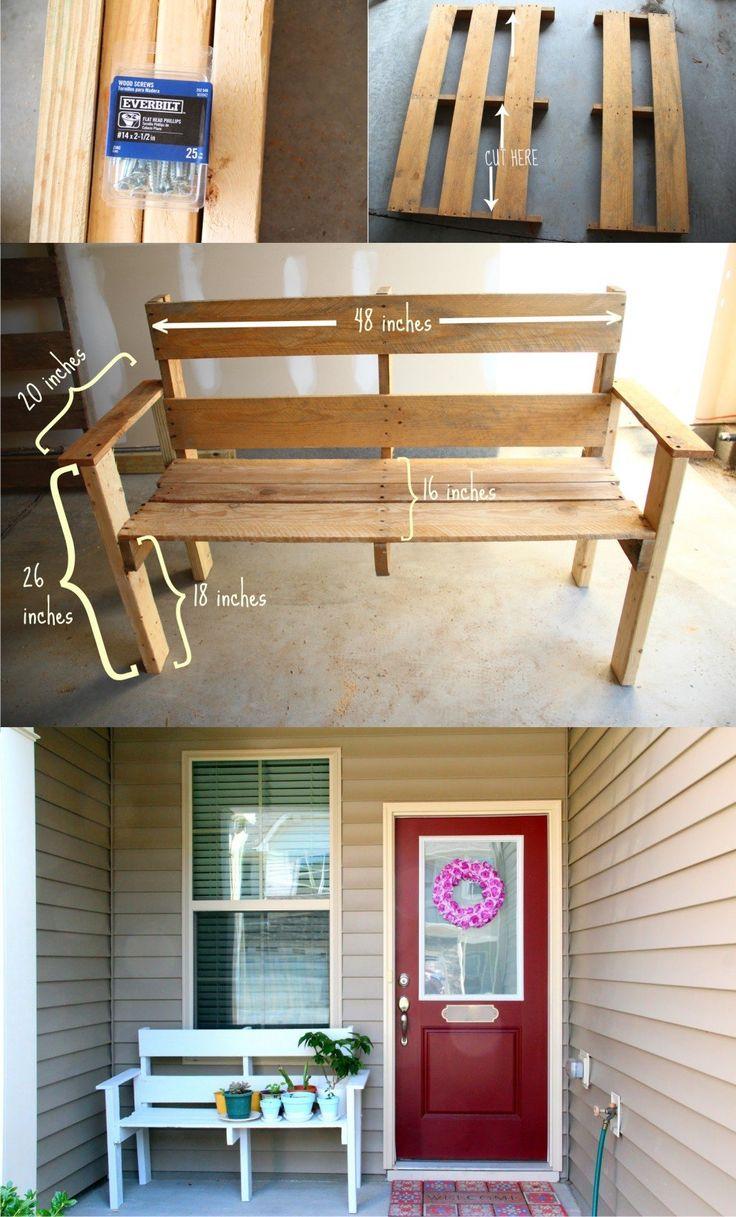 Ingenioso banco a partir de un palé - DIY Pallet Bench