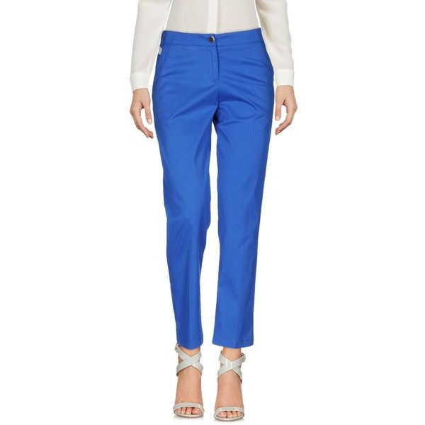 Armani Jeans Casual Trouser (€135) ❤ liked on Polyvore featuring pants, bright blue, cotton trousers, cotton chino pants, zipper pants, chinos pants and bright blue pants