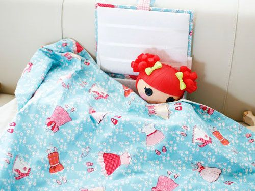 Playing with Doll / Gauze Blanket / Blue Color Fabric by gainstory, $105.00