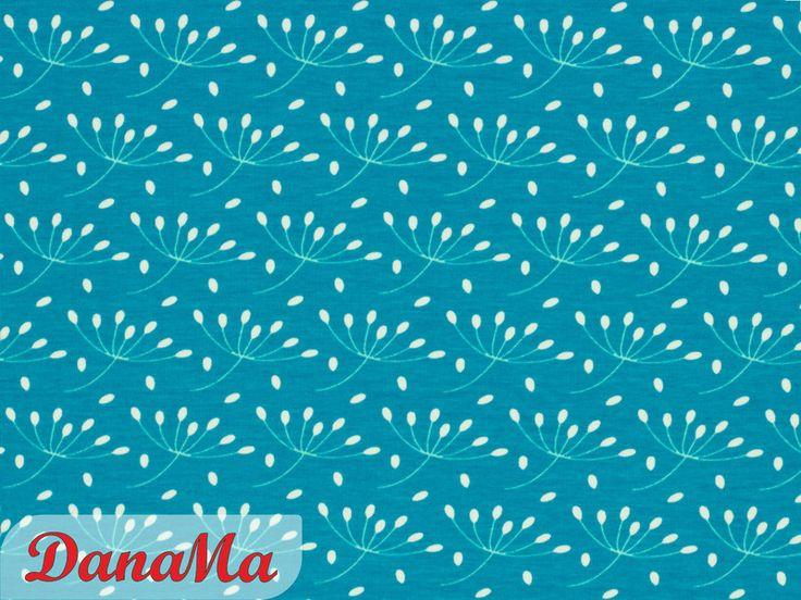 Stoff Blumen - Sweat Pusteblumen petrol - ein Designerstück von DanaMa-Stoffe bei DaWanda