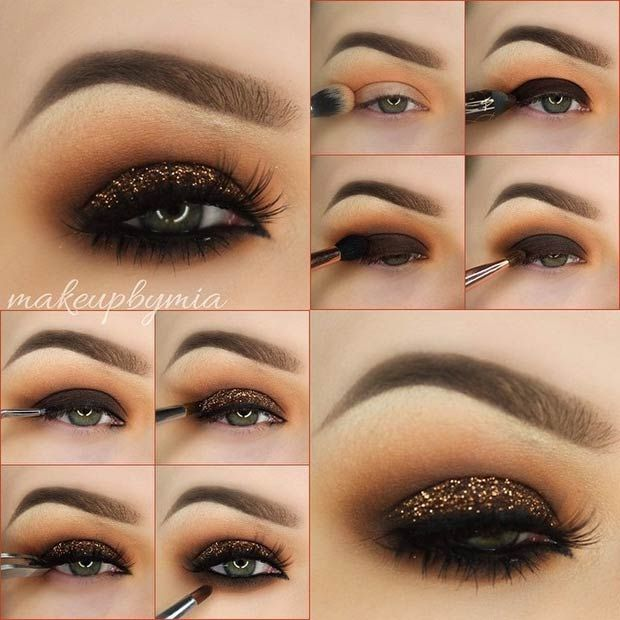 Dark Brown Smokey Eye Tutorial with a Pop of Copper Glitter