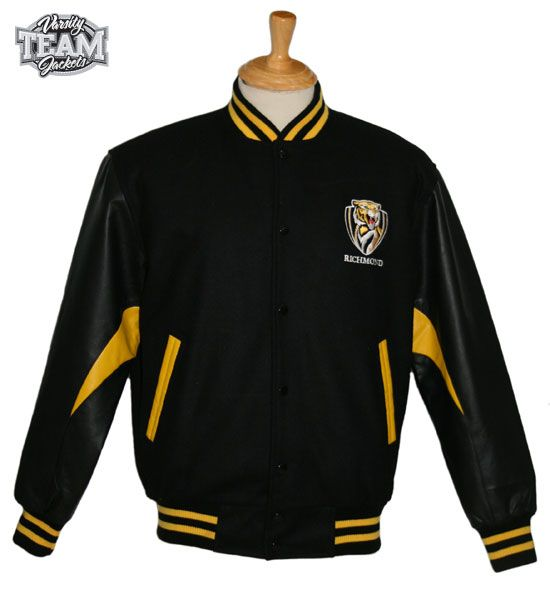 Richmond Tigers AFL wool body and leather sleeves embroidered varsity jacket front by Team Varsity Jackets. www.facebook.com/TeamVarsityJackets  www.teamvarsityjackets.com.au