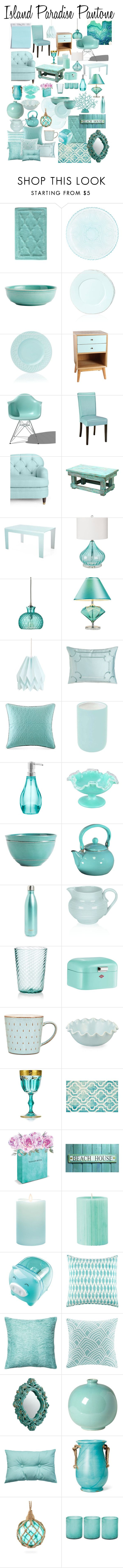 """Island Paradise Pantone Decor"" by teciane-ro ❤ liked on Polyvore featuring Jessica Simpson, Pier 1 Imports, Pottery Barn, Vietri, Lenox, Antique Revival, Herman Miller, Home Decorators Collection, Kate Spade and Sovet Italia"